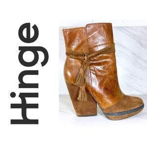 Brown Leather Stacked Heel Boot by Hinge Sz 6.5